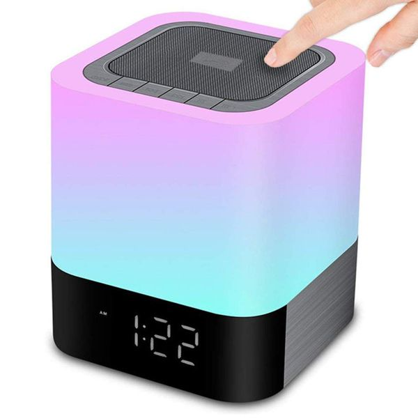 Hompot Bluetooth Bedside Lamp and Color Changing Alarm Clock