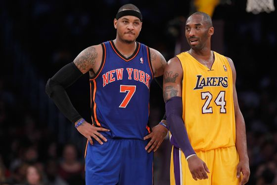 LOS ANGELES, CA - DECEMBER 29:  Carmelo Anthony #7 of the New York Knicks and Kobe Bryant #24 of the Los Angeles Lakers talk during the first half at Staples Center on December 29, 2011 in Los Angeles, California. NOTE TO USER: User expressly acknowledges and agrees that, by downloading and or using this photograph, User is consenting to the terms and conditions of the Getty Images License Agreement.  (Photo by Jeff Gross/Getty Images)