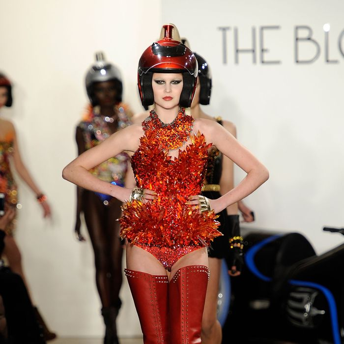 NEW YORK, NY - FEBRUARY 15: A model walks the runway at the The Blonds Fall 2012 fashion show during Mercedes-Benz Fashion Week at Milk Studios on February 15, 2012 in New York City. (Photo by Fernanda Calfat/Getty Images)