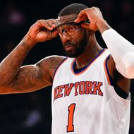 Amar'e Stoudemire #1 of the New York Knicks looks on during a game against the Atlanta Hawks at Madison Square Garden on November 10, 2014 in New York City.