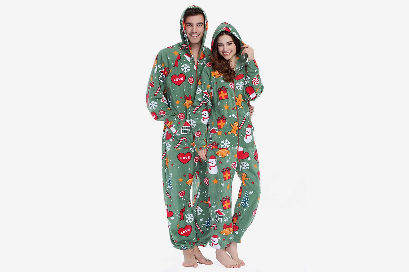 8c4e3538bbc5 XMASCOMING Unisex Hooded Fleece Onesie