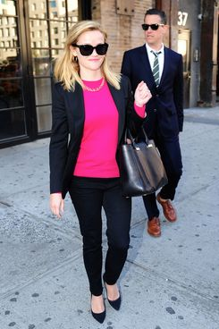 "NEW YORK, NY - MAY 14: Reese Witherspoon and Jim Toth is seen leaving the ""Soho House Club"" on May 14, 2013 in New York City. (Photo by Alo Ceballos/FilmMagic)"