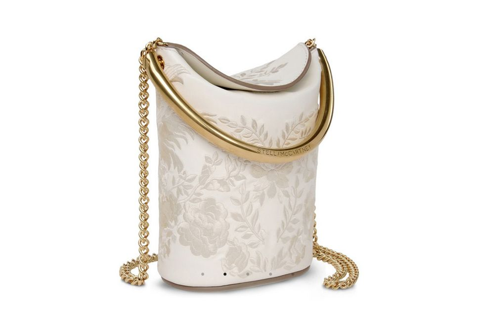 Ivory Floral Embroidered Shoulder Bag