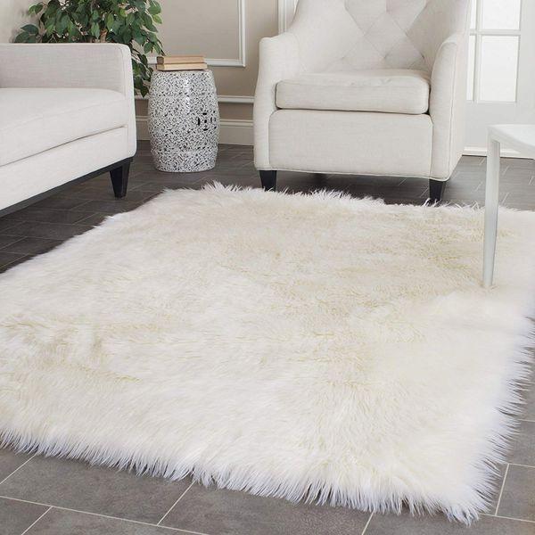 Safavieh Faux Silky Sheepskin Ivory Area Shag Rug, 5' x 8'