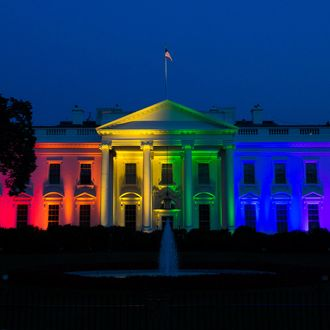 White House Illuminated with Rainbow Colors