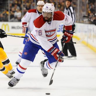 P.K. Subban #76 of the Montreal Canadiens skates with the puck against Daniel Paille #20 of the Boston Bruins in Game Two of the Second Round of the 2014 Stanley Cup Playoffs at TD Garden on May 3, 2014 in Boston, Massachusetts.