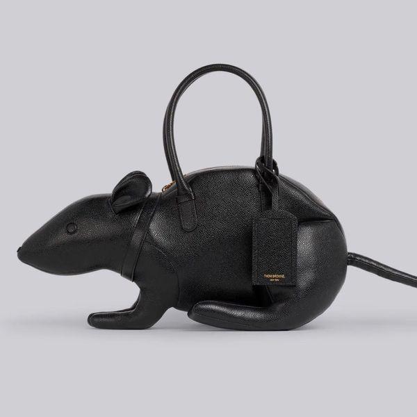 Thom Browne Black Pebbled Calfskin Rat Bag