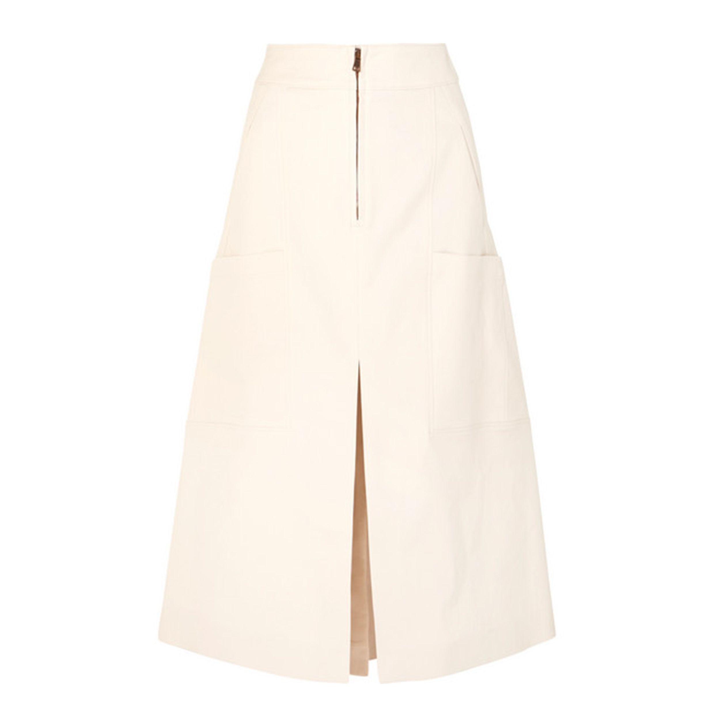 Stretch-cotton midi skirt