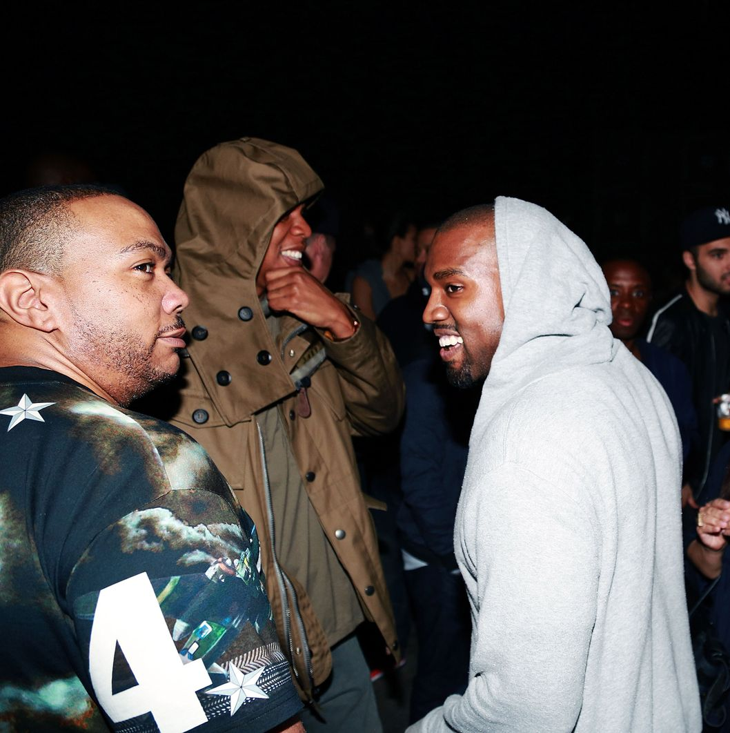 NEW YORK, NY - JUNE 10:  (L-R) Timbaland, Jay Z and Kanye West attend the Kanye West album listening party at Milk Studios on June 10, 2013 in New York City.  (Photo by Shareif Ziyadat/FilmMagic)