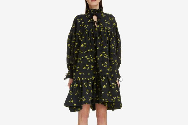 Cecilie Bahnsen Macy Floral Print Pleated Oversized Shirtdress