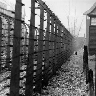 circa 1955: The perimeter fence of the Nazi concentration camp at Auschwitz. (Photo by Keystone/Getty Images)