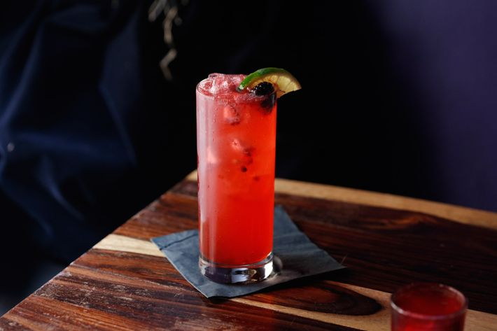 The Beetles Juice: muddled blackberry and lime, tequila, blackberry schnapps, Angostura bitters, splash of cranberry.