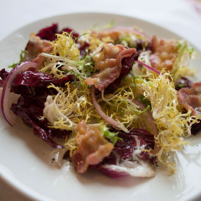 Chicory salad with pancetta.