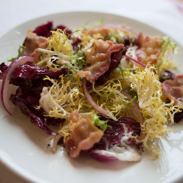 Chicory salad with pancetta.
