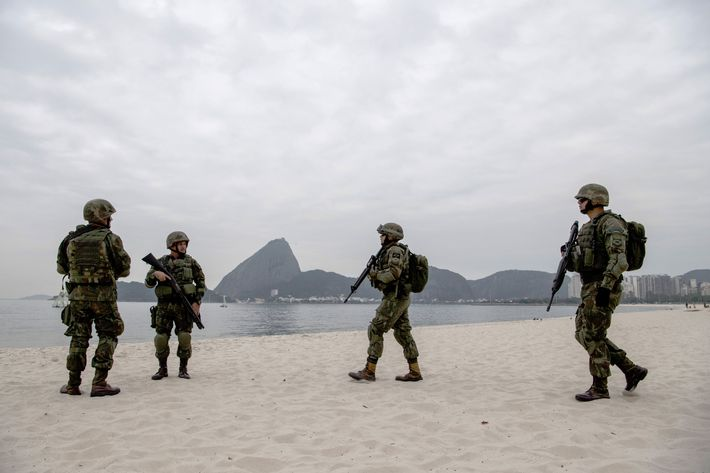 Brazilian marines disembark on Flamengo Beach, near the site that will host the sailing competitions of the Rio 2016 Olympic Games, during a drill  in Rio de Janeiro, Brazil on july 19, 2016.