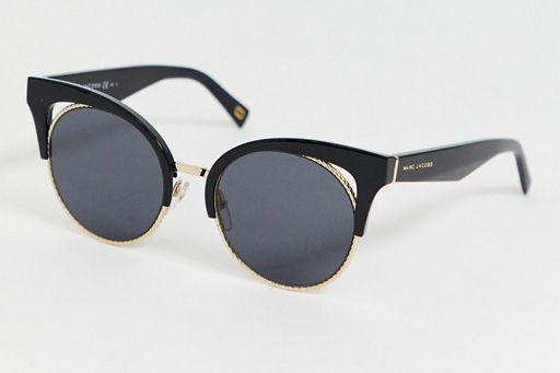 Marc Jacobs Round Black Acetate and Gold Metal Sunglasses