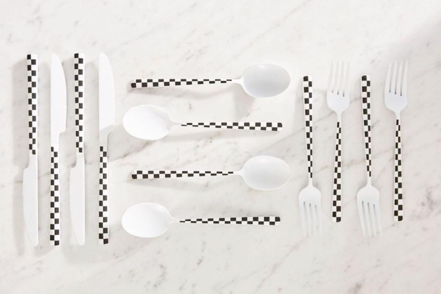 12-Piece Checkered Flatware Set