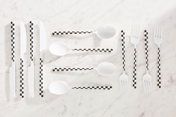 12-Piece Checkered Flatware Set