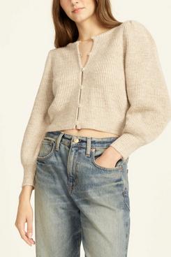 J.Crew Puff-Sleeve Lightweight Alpaca Blend Cardigan Sweater