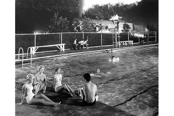 """Swimming Pool, August 28, 1958"" by O. Winston Link"
