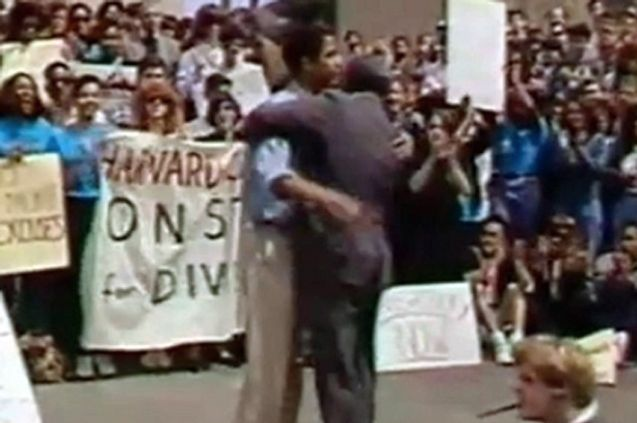 The hug that tells you everything you need to know about, um, the Harvard Law School affirmative action debate of 1990
