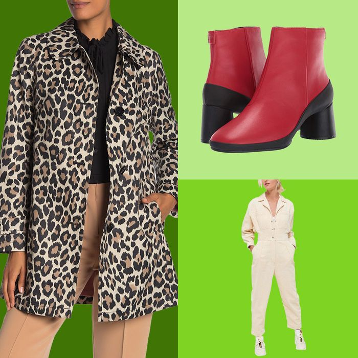 Leopard print jacket, tan high waisted pants and black shirt on a dark green background and red and black heeled booties and cream colored industrial jumpsuit with collar on light green backgrounds. - 33 Things on Sale You'll Actually Want to Buy: From Adidas to Le Creuset