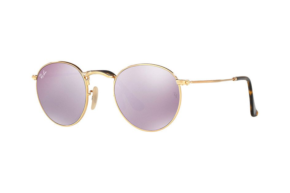 Ray-Ban Round Flat Lenses in Gold Lilac Mirror