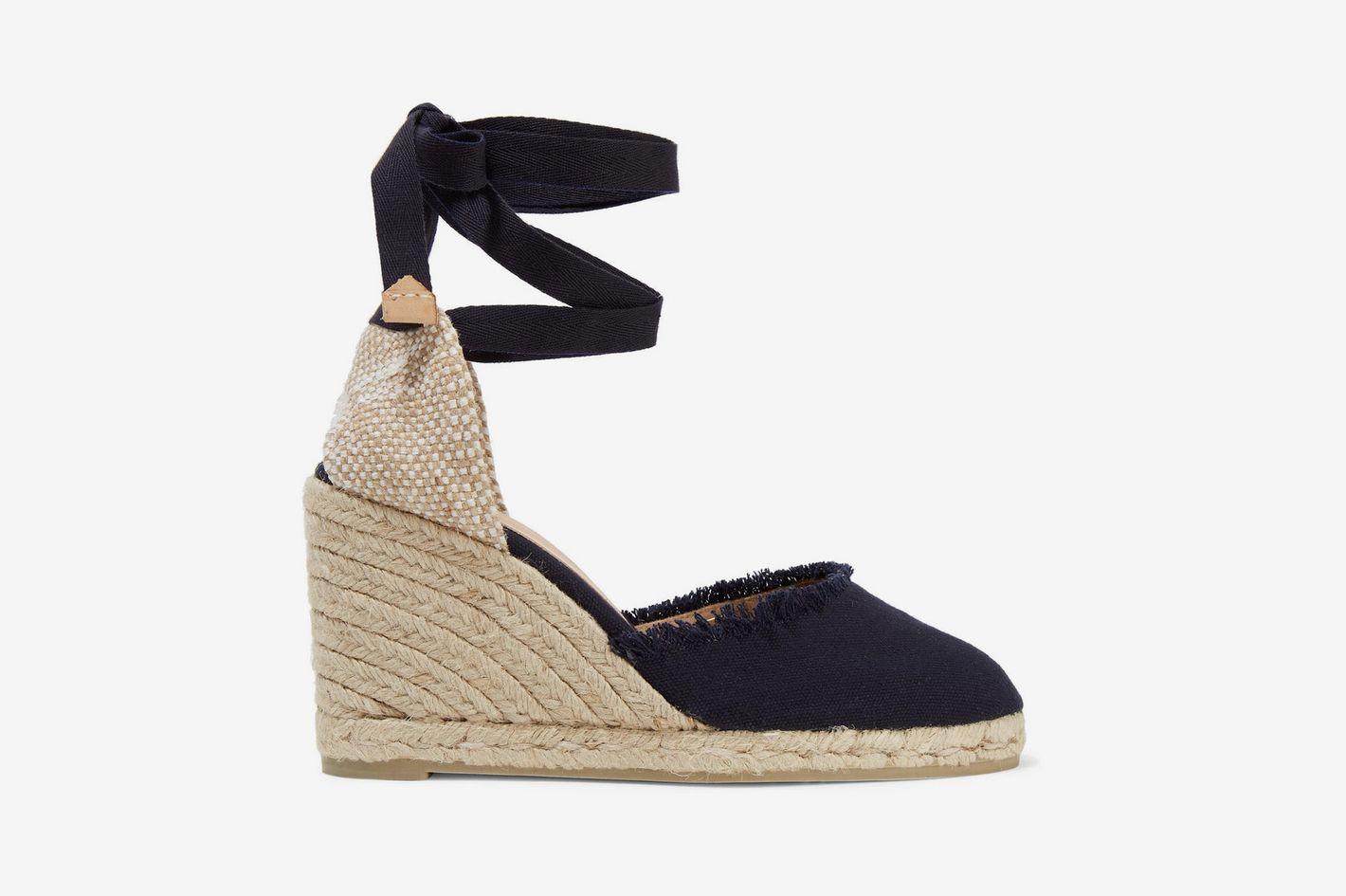 Castaner Frayed Canvas Wedge Sandals