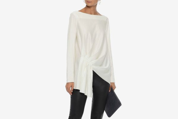 Iris & Ink Iona Asymmetric Gathered Cotton-jersey Top