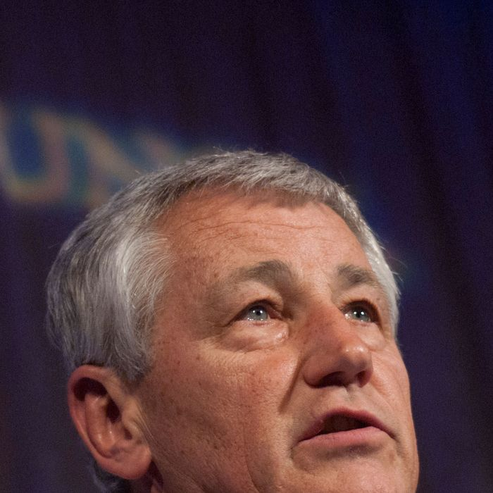 Former U.S. Sen. Chuck Hagel speaks during the 2010 Atlantic Council awards dinner at the Ritz Carlton Hotel on April 28, 2010 in Washington, DC.