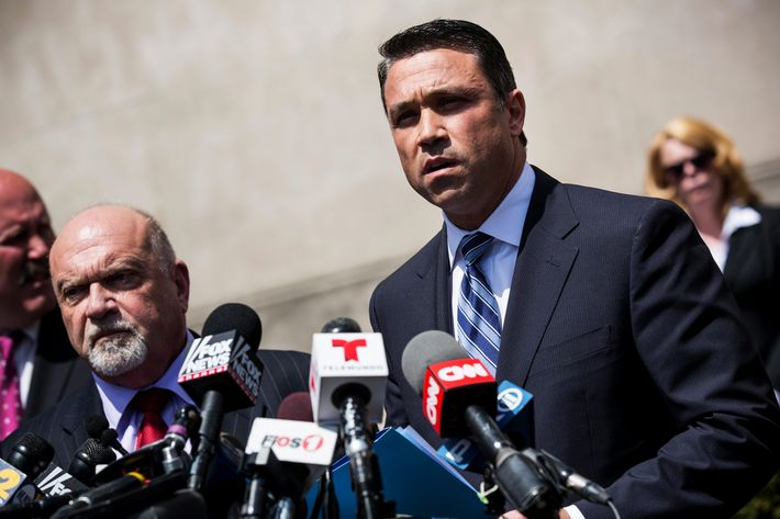 NEW YORK, NY - APRIL 28: U.S. Representative Michael Grimm (R-NY, 11th District) speaks at a press conference after leaving Brooklyn Federal Court where he was indicted on 20 counts on April 28, 2014 in the Brooklyn borough of New York City. Grimm's indictments include wire fraud, mail fraud, conspiring to defraud the United States, impeding the Internal Revenue Service, hiring and employing unauthorized aliens, and health care fraud. (Photo by Andrew Burton/Getty Images)