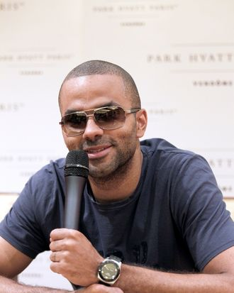 French basket-ball player Tony Parker gives a press conference on June 15, 2012 in Paris, before taking part in the preparation of the French basket-ball team for the 2012 London Olympics Games.