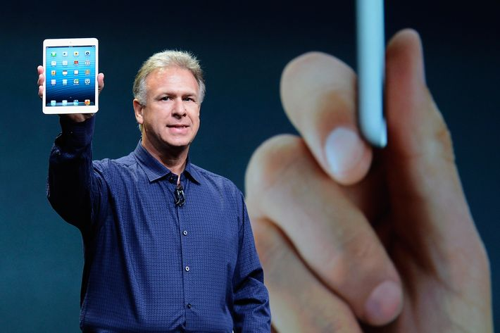 Apple Senior Vice President of Worldwide product marketing Phil Schiller announces the new iPad Mini during an Apple special event at the historic California Theater on October 23, 2012 in San Jose, California. The iPad Mini is Apple's smaller version of the iPad tablet.