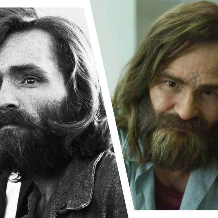 Charles Manson, left, is played by Damon Herriman.
