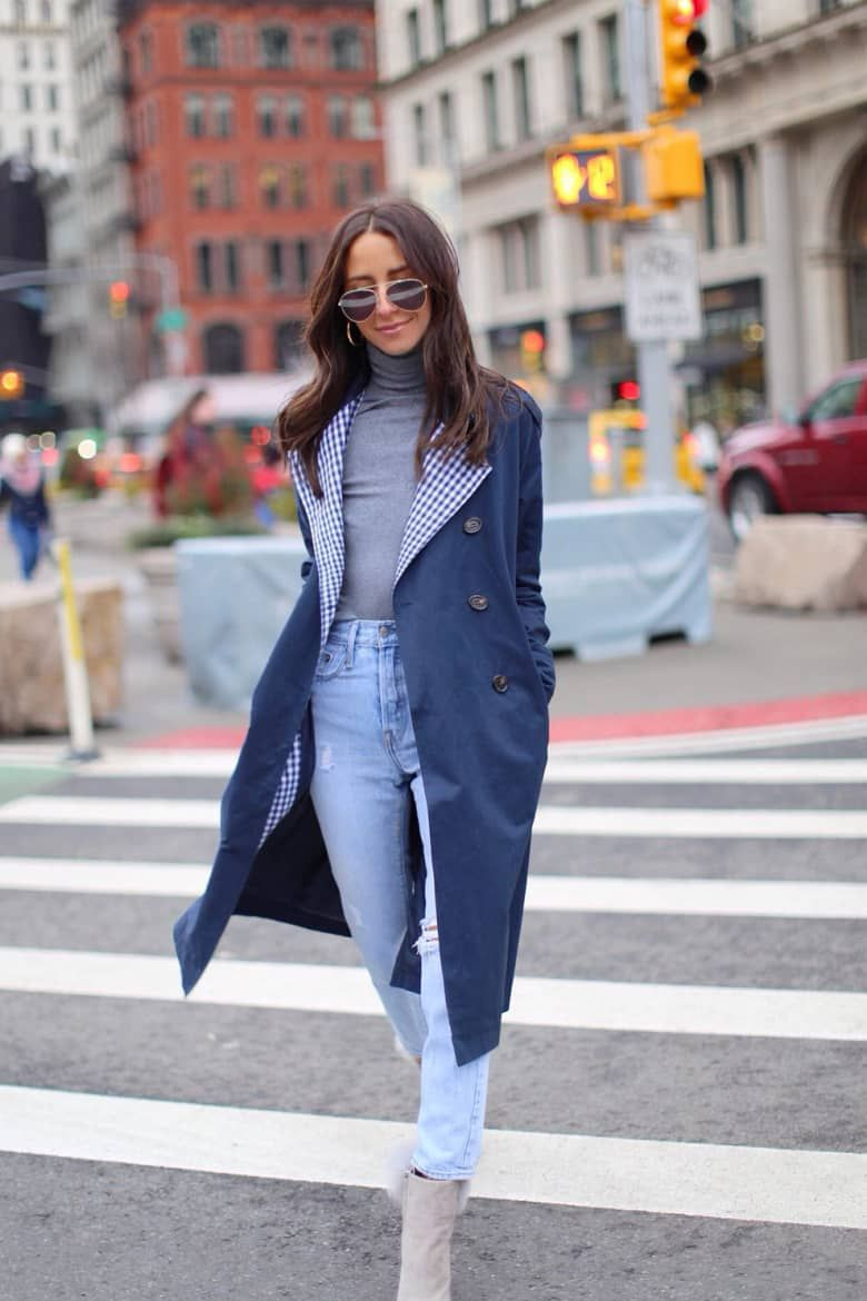 Something Navy Contrast Trim Trench Coat
