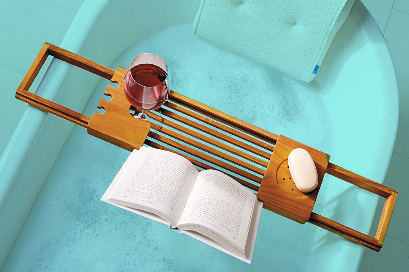 Teak Bathtub Water Resistant Tray Caddy