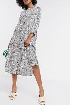 Only Midi Smock Dress, Mono Polka Dot