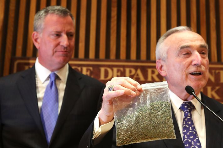 NEW YORK, NY - NOVEMBER 10:  New York City Police Commissioner Bill Bratton holds up a bag of oregano to demonstrate what 25 grams of marijuana looks like at a news conference to announce changes to New York's marijuana policy on November 10, 2014 in New York City. The commissioner and  New York City Mayor Bill de Blasio announced that the city will start giving out tickets (and court summons) rather than arresting people for possession of 25 grams of marijuana and under. The new guidelines for officers will result in hundreds of less arrests per year, freeing up the police to focus on other crimes. It will also free those caught with the drug from having a damaging arrest record.  (Photo by Spencer Platt/Getty Images)