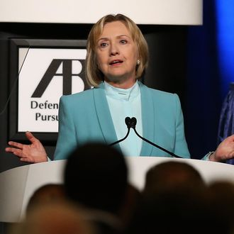 SAN FRANCISCO, CA - AUGUST 12: Former U.S. Secretary of State Hillary Clinton speaks during the 2013 America Bar Association (ABA) annual meeting on August 12, 2013 in San Francisco, California. The ABA honored Hillary Clinton with its highest honor, the ABA Medal. (Photo by Justin Sullivan/Getty Images)