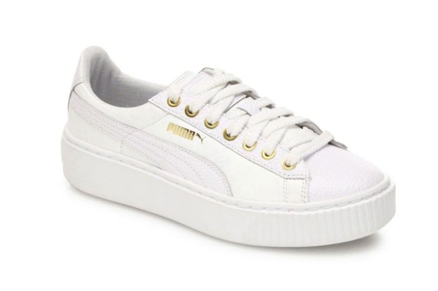 Puma Basket Leather Platform Sneakers, White