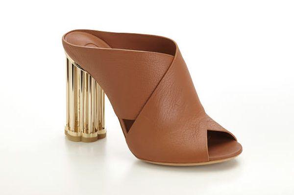 Salvatore Ferragamo Leather Mule with Flower Heel