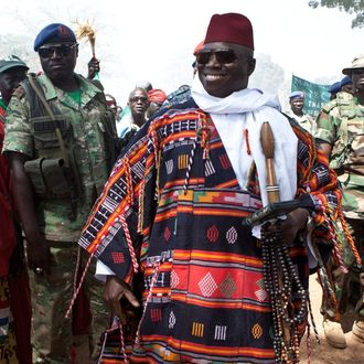 Yahya Abdul-Aziz Jemus Junkung Jammeh is the president of the Gambia. As a young army officer, he took power in a July 1994 military coup and was elected as President in 1996; he was re-elected in 2001, 2006, and 2011. Jammeh with followers at his Roots Home Coming festival at his birth village of Kanilai.