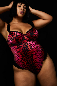 Betsey Johnson x Torrid Hot-Pink Leopard Satin Bodysuit