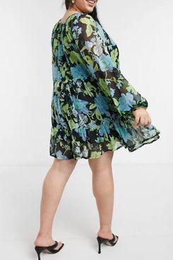 ASOS DESIGN Curve Tiered Floral Smock Mini Dress
