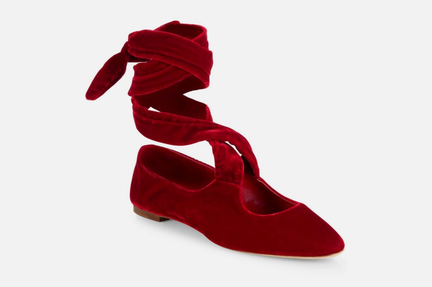 The Row Elodie Velvet Ankle-Wrap Ballet Flats