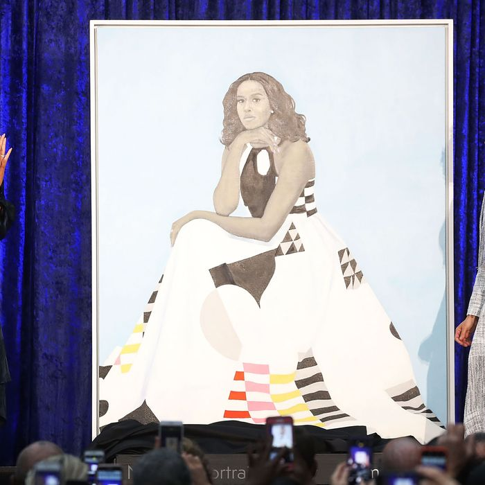 Former First Lady Michelle Obama and artist Amy Sherald.