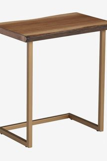 World Market Faux Live Edge Wood And Gold Metal Sloan Laptop Table