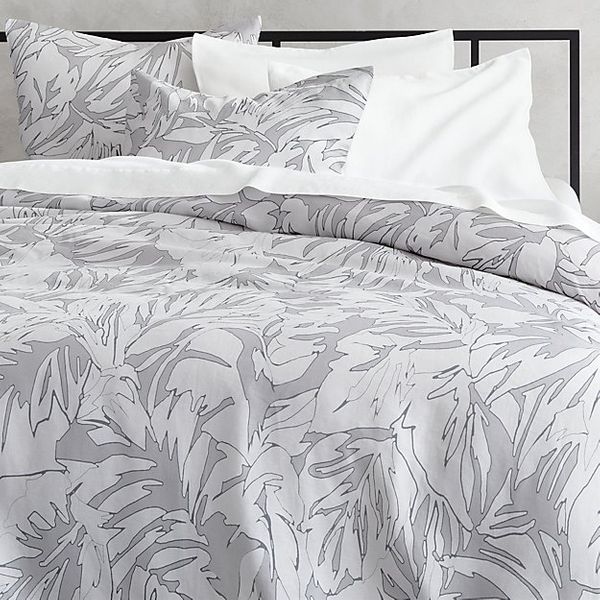 CB2 Palm Grey Linen Full/Queen Duvet Cover