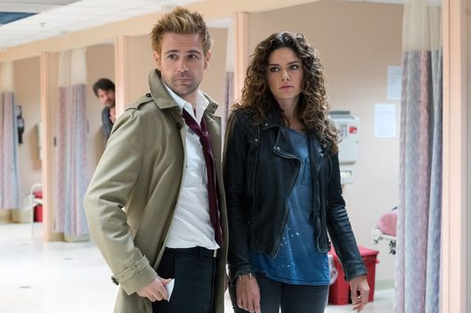 "CONSTANTINE -- ""Angels and Ministers of Grace"" Episode 112 -- Pictured: (l-r) Matt Ryan as John Constantine, Angelica Celaya as Zed Martin -- (Photo by: Tina Rowden/NBC)"