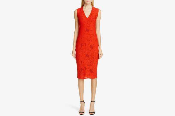 Fuzzi Lace V-Neck Midi Dress